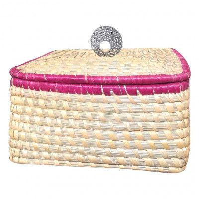 Avnii Organics Eco Friendly Hand Woven Moonj GrassSea Grass Storage Basket With Beautiful Lid Multipurpose use like Picnic BasketFruit Basket(#1899)-gallery-0