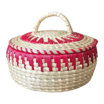 Avnii Organics Beautiful Hand Woven Round Shaped MoonjSea Grass Basket with Lid Eco-Friendly Can Be Used for Chapatti MultipurposeVery Useful(#1901)-gallery-0