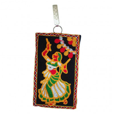 Avnii Organics Multi color Mobile Pouch (Mobile Cover) Rajasthani Style beautiful hand crafted Velvet with Mirror work cover for Women(#1923)-gallery-0