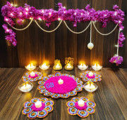 Diwali Toran candle with artificial flower(#1934) - Getkraft.com