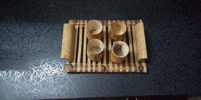 HAND MADE ECO FRIENDLY SERVING TRAY AND CUP SET(#1950)-gallery-0