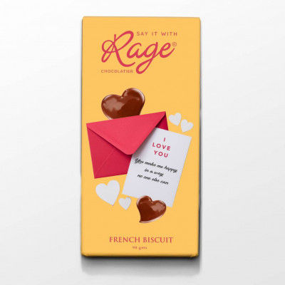 Rage Chocolatier I Love You You Make me Happy in a Way French Biscuit Chocolate Bar 90 gm(#2094)-gallery-0