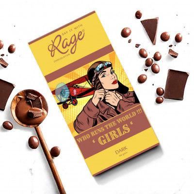 Rage Chocolatier Womens Day Special Who Runs The World GIRLS Dark - 90 Grams(#2151)-gallery-0