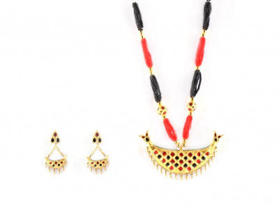 Traditional Assamese Jewellery - Junbiri Gold Black and Red(#218)-gallery-0