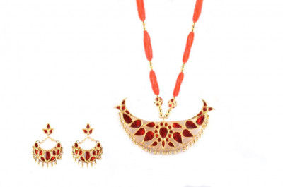 Big Bena Assamese Traditional Necklace and Earrings Jewellery Set(#219)-gallery-0