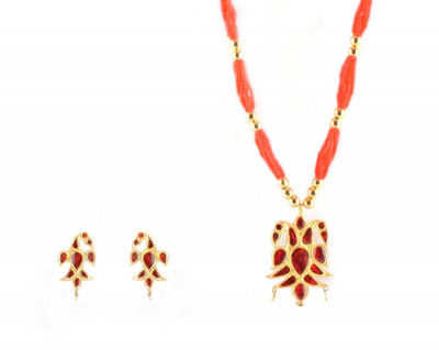 Henpata Womens Designer Jewellery from Assam (Red and Golden)(#220)-gallery-0