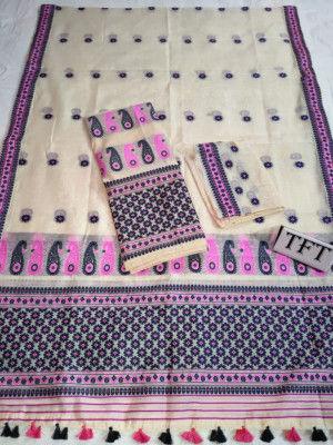 Khadi Cotton Mekhela Chador D17(#2217)-gallery-0