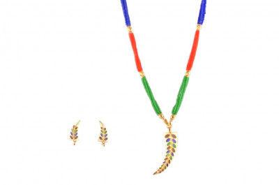 Single Pepa Designer Traditional Assamese Jewellery Set for Women (Multicolored)(#227)-gallery-0