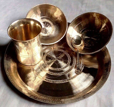 Bell Metal Bowl Plate Set(#2304)-gallery-0