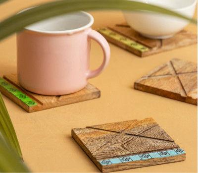 Prodigar Hand Painted Mango Wood Coasters Set of 4(#2314)-gallery-0