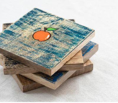 Frais Hand Painted Mango Wood Coaster(#2316)-gallery-0
