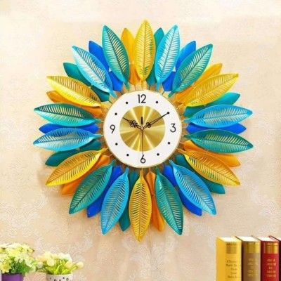 Wall Decor Iron Crafts - Colorful Leaf Watch(#2356)-gallery-0