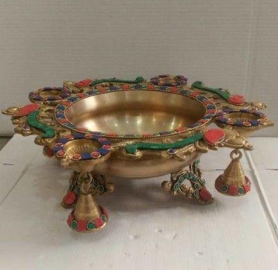 Lighting Brass Decorative Urli with Stone(#2357)-gallery-0