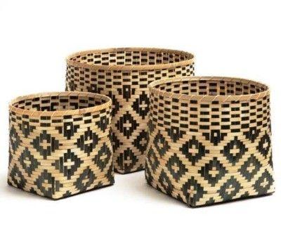 Bamboo Storage Basket Set Of Three(#2374)-gallery-0