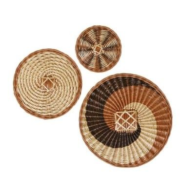 Wicker Wall decor Round Plate( Set of 3)(#2399)-gallery-0