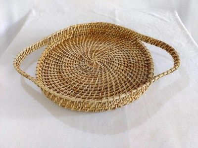 Elegant Handmade Cane round Serving tray with long Handle(#2564)-gallery-0