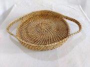 Elegant Handmade Cane round Serving tray with long Handle(#2564) - Getkraft.com