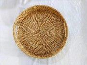 Elegant Handmade Cane Round Serving tray(#2565) - Getkraft.com