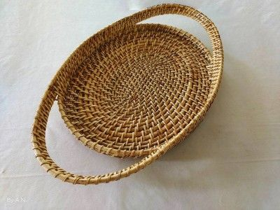 Elegant Handmade Cane Serving tray with long Handle(#2566)-gallery-0