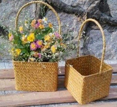 Seagrass flower basket set(#2675)-gallery-0