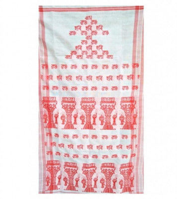 Traditional Assamese Gamosa with Imprinted Xorais(#300)-gallery-0