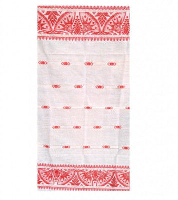 Assamese Ethnic Gamosa with Imprinted Flowers(#301)-gallery-0