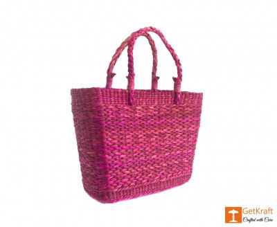 Natural Straw Handmade Purple Shoulder Bag(#377)-gallery-0