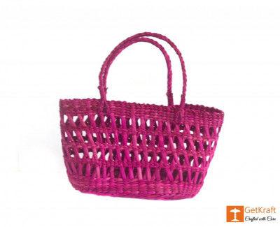 Natural Straw Handmade Purple Medium Sized Basket(#381)-gallery-0