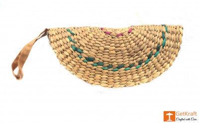Natural Straw Handmade Clutch(#411)-gallery-0