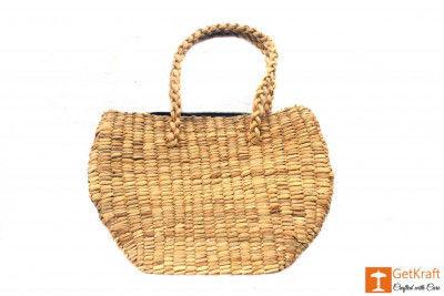Natural Straw Oval Handbag(#417)-gallery-0