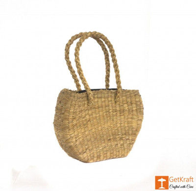 Natural Straw Medium-sized Oval Shape HandBag(#429)-gallery-0