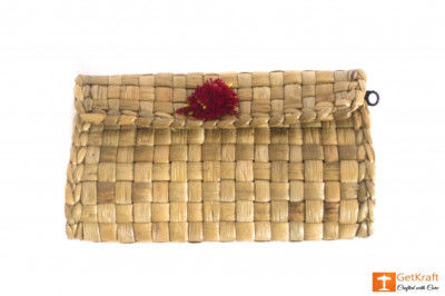 Natural Straw Small Purse with Red-Yellow Button(#434)-gallery-0