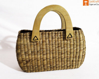 Natural Straw Oval Shaped Handbag with wooden handle(#436)-gallery-0