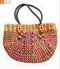 Natural Straw Handmade Multi-coloured Bag(#438)-thumb-0