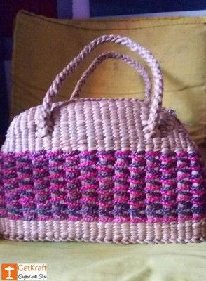 Natural Straw Handmade Multi-coloured Shopping Bag(#442)-gallery-0