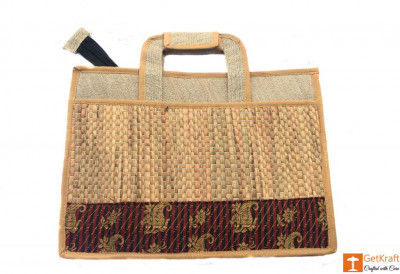 Jute and Natural Straw Unisex Handbag(#444)-gallery-0