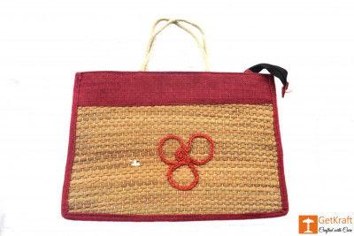 Jute - Natural Straw Handicraft Handbag with Maroon border(#446)-gallery-0