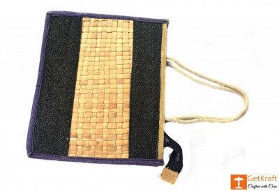 Jute Natural Straw Black and Natural Jute color Zip closure Bag(#451)-gallery-0