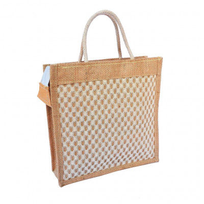 Handwoven Jute Handbag (White and Natural Jute color)(#462)-gallery-0