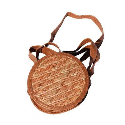 Sitalpati Handmade Round Strawbag with Long Handle(#478)-gallery-0