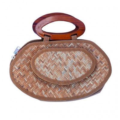 Sitalpati Small Handmade Purse with Wood Handle(#488)-gallery-0