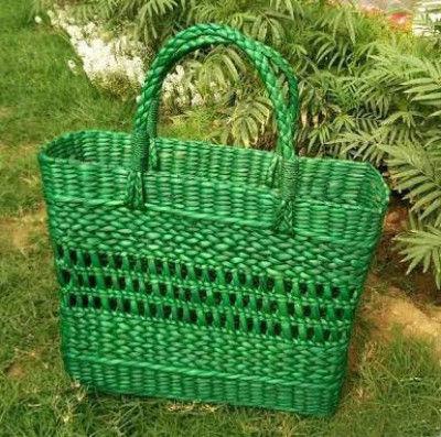 Large Natural Straw Green colored Handbag(#514)-gallery-0