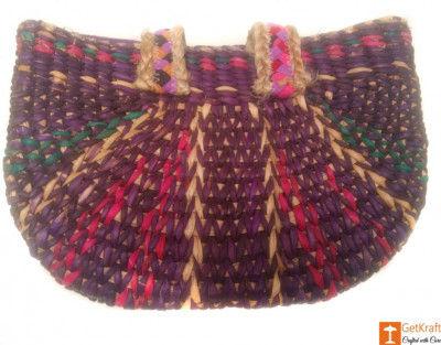 Large Natural Straw Multicolored Handbag(#518)-gallery-0