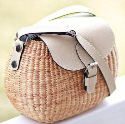 Natural Straw Side bag with Leather Handle and Design(#526)-gallery-0