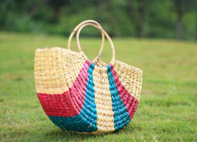 Natural Straw Multicolored Handbag(#532)-gallery-0