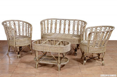 Cane Sofa Set Eco-friendly for Home Office Use(#560)-gallery-0