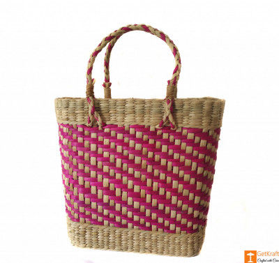 Large Natural Straw Handbag with patterned design in Pink color(#588)-gallery-0