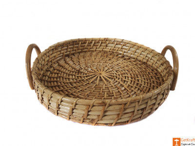 Cane Round Serving Tray for Kitchen Home Decor Gift Ideas Serving(#593)-gallery-0