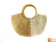 Trendy White and Beige Jute Handbag for Women(#608) - Getkraft.com