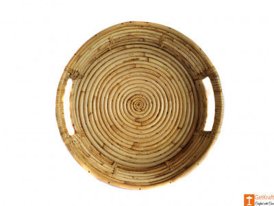 Round Handmade Cane Serving Tray(#609)-gallery-0